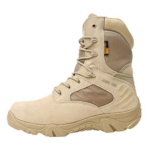 Yuanu Botas De Senderismo para Hombre Impermeable Suela De Goma Zapatos Altos Otoño Invierno Casual Trekking Desierto Calentar Cremallera Masculino Deportes Calzado