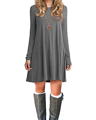 Durio Damen Einfaches Kleider Basic Casual A-Linie Skaterkleid Freizeit Kleider Fließendes Kleid Langarm Beiläufige Shirt Lose Rundhals Tunika Grau EU 46(Tag XL)