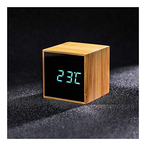 Houten digitale wekker for Heavy Sleepers Snooze Dimbare Voice Control for thuis en op kantoor Student Cube Time Clock Simple Stil Ontwerp (Color : A, Size : 6cm*6cm*6cm)