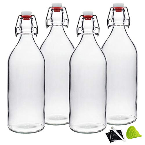 32oz Clear Swing Top Bottles -Glass Beer Bottle with Airtight Rubber Seal Flip Caps for Home Brewing...