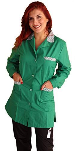 Petersabitidalavoro Camice da Lavoro Donna Verde Manica Lunga con Inserti Maestra Imprese Pulizia Professionale Operaia Grembiule (L=50-52, Verde)