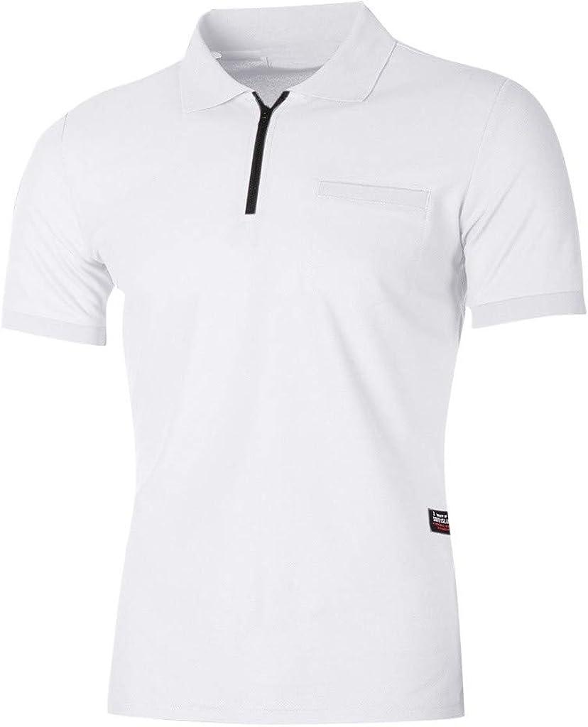 YOCheerful Men's Tops Casual Slim Short Sleeve Pockets T-Shirt Zipper Tops Daily Henley Blouses