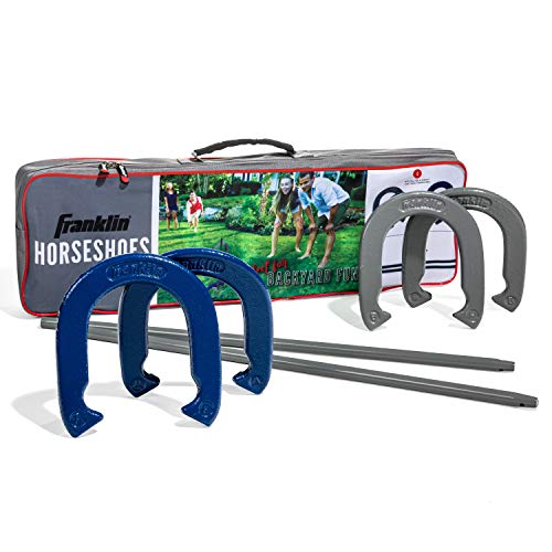Franklin Sports Horseshoes Set - Metal Horseshoe Game Set for Adults + Kids - Official Weight Steel Horseshoes - Beach + Lawn Horseshoes - Family Set