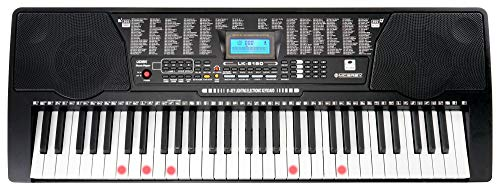 McGrey LK-6150 61 Tasten Keyboard (Einsteiger-Keyboard mit 61 Leuchttasten, 255 Sounds und 255 Rhythmen, 61 Percussion-Sounds, 50 Demo Songs, integrierter MP3-Player) Schwarz