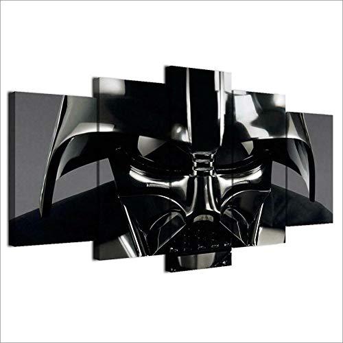 EMAIENA Il Film di Star Wars Darth Vader Quadri Moderni Camera da Letto 5 Pezzi Stampe Moderne su Tela Immagine Astratta per Home Office Soggiorno Camera da Letto -150 x 80cm