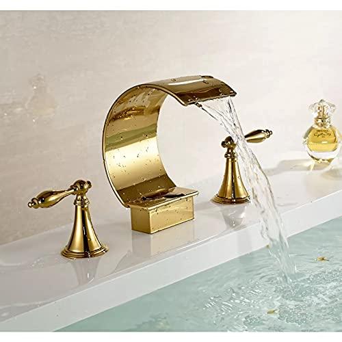 Baño de lujo cascada rociador lavabo grifo doble perilla grifo grifo acabado dorado