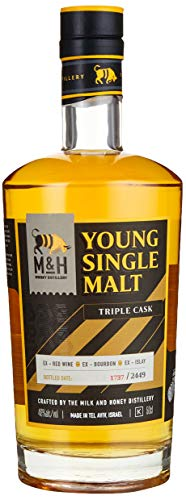 M&H Young Single Malt Triple Cask Whisky, 0.5 l