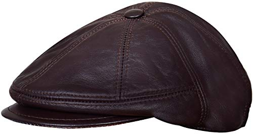 Peaky Blinders Brown Newsboy Real Leather Gatsby Cap Hat Flat Cabbie Bakerboy