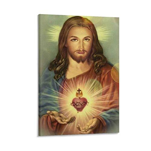 WUSOP Sagrado Corazon de Jesus - Póster original de cuadro decorativo lienzo para pared de salón póster dormitorio pintura 40 x 60 cm