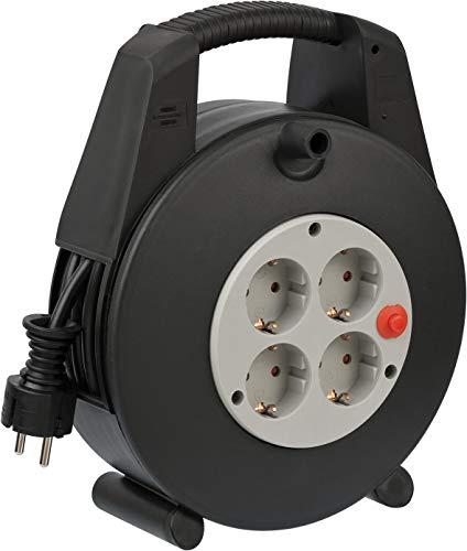 Brennenstuhl Vario Line Kabeldoos, 4-voudig, mini-kabelhaspel, indoor kabelhaspel voor het huishouden, 15 m kabel, Made in Germany, zwart/grijs