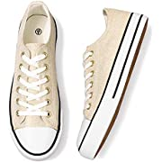 Adokoo Womens Canvas Shoes Casual Cute Sneakers Low Cut Lace up Fashion Comfortable for Walking(Gold,US7