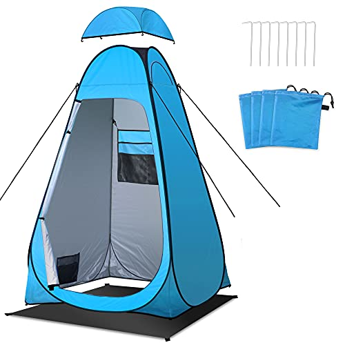 Toilet Tent, Shower Tent with Tent Groundsheet/Pegs/Guy Ropes/Tent Bag, Waterproof Camping Toilet Tent Pop-up Changing Tent Portable for Outdoor Travel Fishing Hiking-Utility Tent Blue