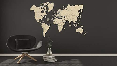 HQ Windspiration World Map XXL 3D-Holzfunktionsbausätze, Holz, Natur, 200 x 120 cm