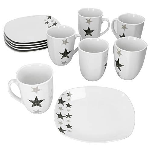 Van Well Stars 12-TLG. Frühstücks-Set Dessertteller + Kaffeebecher I Weihnachten I Sternen Muster I Winterliche Teller in Weiß für Kuchen, Toast, Brötchen I Christmas