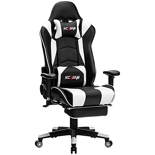 KCREAM Gaming Stuhl Gaming Sessel Massage Racing Bürostuhl Höhenverstellbarer Drehstuhl PC Stuhl Ergonomisches Computerstuhl Gamer Stuhl (Weiß)