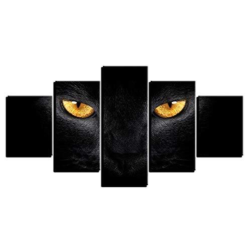 LWJPD Cuadro en Lienzo 5 Partes Cuadro De Lienzo Moderno Cuadro De Arte De Pared Animal Gato Negro Ojos Amarillos Decoración Sala De Estar Modular HD Impresión Póster Sin Marco 60 Inch