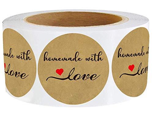 Kraft Homemade/Handmade with Love Stickers 1.5