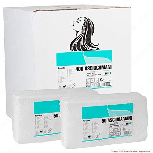 Eurocali 400 Asciugamani Monouso per Parrucchiere Estetista - Altissima qualità, 66 gr/mq, 40x80 cm, 100% Pura cellulosa Dermatologicamente Testato