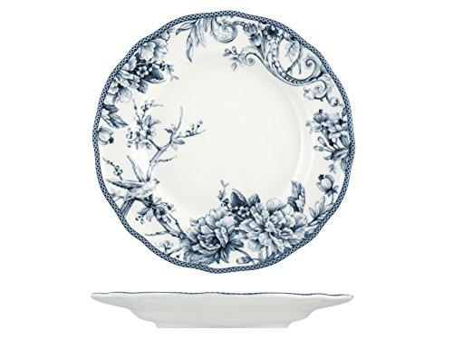 H&H Adelaide Set Assiettes, Porcelaine, Blanc/Bleu, 6 unités