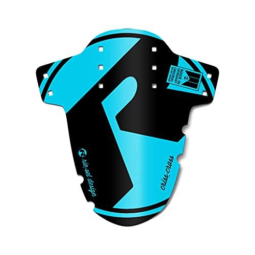 Riesel Design® Mudguard - Criss:Cross – Fahrrad Schutzblech vorn inkl. Kabelbinder & 2 Sticker/Fahrrad Spritzschutz für Cyclo Cross und Gravel Bike/Schutzblech vorne für Gabel - Blue