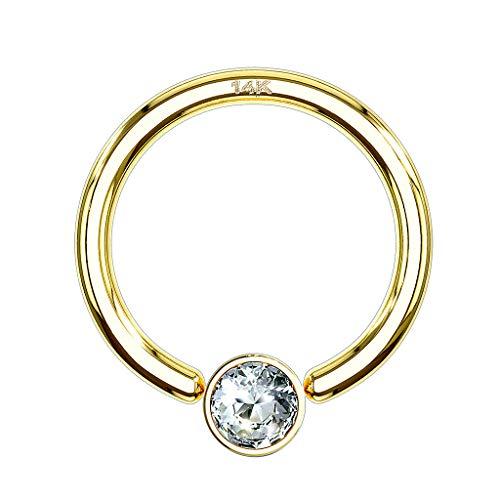 Piercingfaktor BCR Piercing Klemmring Ring 585er Gold 14 KT mit Kristall Septum Helix Ohr Tragus Intim Intimpiercing 1,2mm x 8mm x 3mm Gelbgold