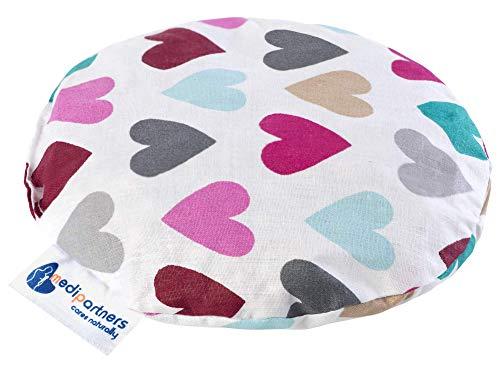 Almohada térmica para bebés 180g Redonda 15 cm Ecológica Natural 100% Algodón Medi Partners Cojin Masaje con calor + frío (Corazones pastel)