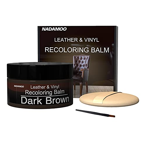 NADAMOO Leather Recoloring Balm Dark Brown 225g / 8 oz, Leather Repair Kits for Couches, Restoration Cream Scratch Repair Leather Dye for Vinyl Furniture Car Seat, Sofa, Shoes