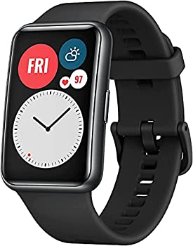 HUAWEI Watch FIT Bluetooth SmartWatch 1.64  Vivid AMOLED Display Quick-Workout Animations 10 Days Battery Life Sport GPS Fitness Tracker 5 ATM Waterproof for Android Phone Graphite Black