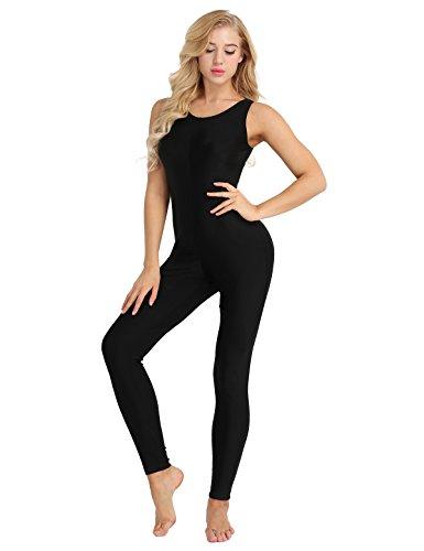 iiniim Damen Overall Ballettanzug Ärmellos Body Gymnastikanzug Elastische Fitness Sportbody Tanzkleidung Gr.S-2XL Schwarz S