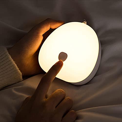Topwor Luz Nocturna Infantil luz quitamiedos infantil Ajustable Brillos 3 Colores Lampara Bebe Portátil USB Recargable Luz de Noche Lamparitas de Noche Dormitorio