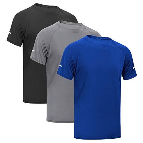 MEETYOO T-Shirts Hommes, Manches Courtes Tee Shirt Maillot Sport Running Vetement pour Jogging Musculation Gym (Noir+Bleu+Gris, M)