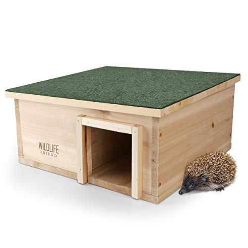 WILDLIFE FRIEND | Caseta para erizos con suelo de madera y fieltro para el techo, para invierno, para el jardín