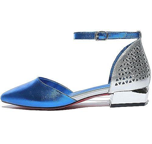 HAOYUXIANG Nuevo estilo de sandalias de calle gruesas y de baja moda para damenes Sandalias Street Comfort Comfort hebilla de cinturón (Farbe   Blau, Tamaño   34)
