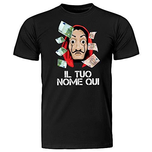 T-Shirt Maglietta Personalizzabile con Il Nome Uomo La Casa di Carta, Maschera di Dalì, La Casa de Papel (Nero, S IT Uomo)