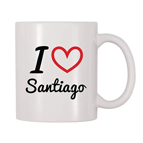 Taza de café, taza de té, taza de té con nombre personalizado I Love Santiago, taza de té, taza de té de café de 11 onzas, regalo para mujeres y hombres