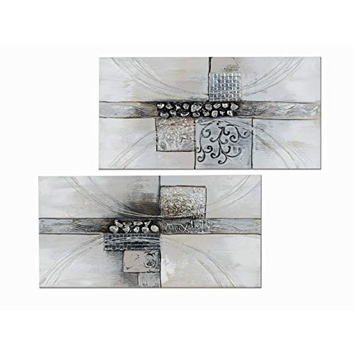 formano 2er Set Wandbilder, Wanddeko MODERN 40x80cm grau Silber