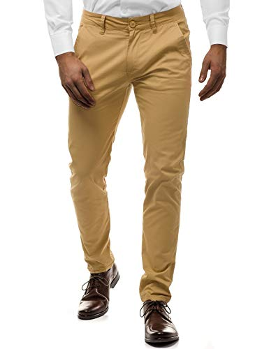 OZONEE Herren Chino Hose Chinos Stoffhose Chinohose Anzughose Anzug Herrenhose Röhrenhose Pants Elegant Business Slim Fit Regular Klassisch Classic Basic T/2901 BEIGE W30