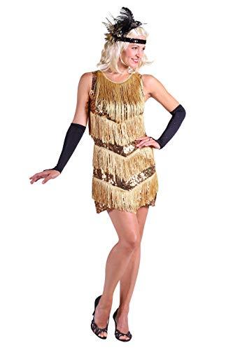 20er Jahre Charlston Kostüm Damen Gold I Flapper Kleid für Fasching und Karneval l Größe S