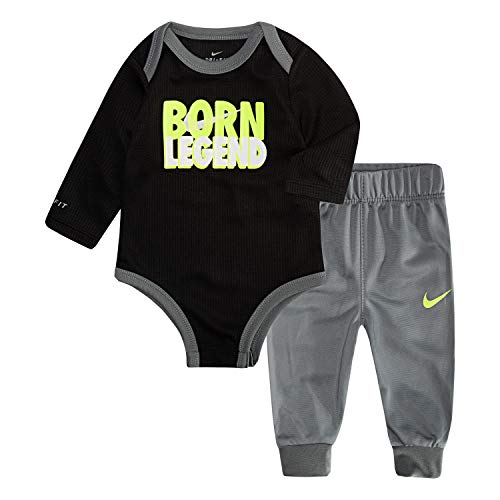 NIKE Children's Apparel Baby Girls Long Sleeve Bodysuit and Joggers 2-Piece Outfit Set, Cool Grey/Black/Volt, 0/3M