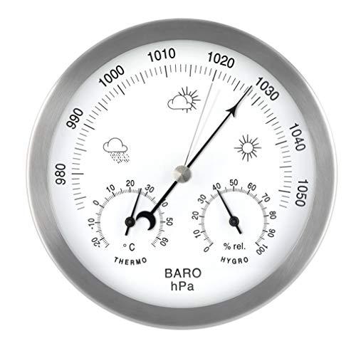 MAVORI Station météo analogique pour l'intérieur et l'extérieur avec Cadre en Acier Inoxydable...