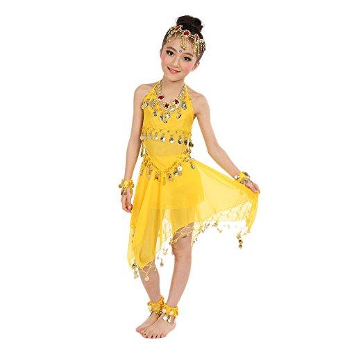 H.eternal Danza del vientre Yoga Deporte Dancewear India Danza Performance Disfraz Fiesta Faldas Halloween Carnaval, amarillo, 5-6 años