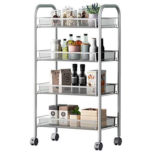 LSLS 4 Capas Caster Kitchen Rack Movimiento Trolley Sala de Estar Dormitorio Almacenamiento Rack Silver estantería de Pared