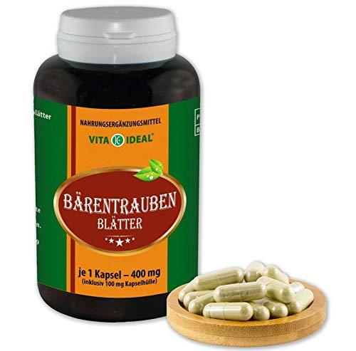VITA IDEAL ® Bärentrauben Blätter (Uva Ursi) 180 Kapseln je 400mg, aus rein natürlichen Kräutern ohne Zusatzstoffe