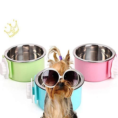 Yhjmdp ciotola per cani in acciaio inox, con gabbia da appendere quadrata e rotonda, rimovibile in acciaio inox, mangiatoia per gatti, cani, piatti, stoviglie, rosa, Roundsmall