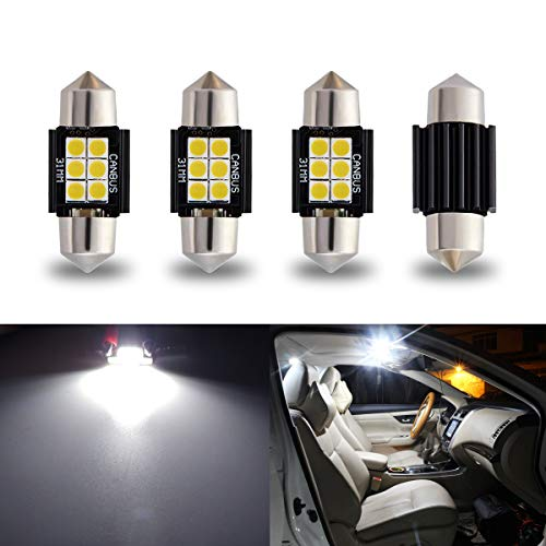 "iBrightstar Newest 9-30V Extremely Bright DE3175 DE3021 Festoon Error Free 1.25"" 31mm LED for Interior Map Dome Lights and License Plate Courtesy Lights, Xenon White"
