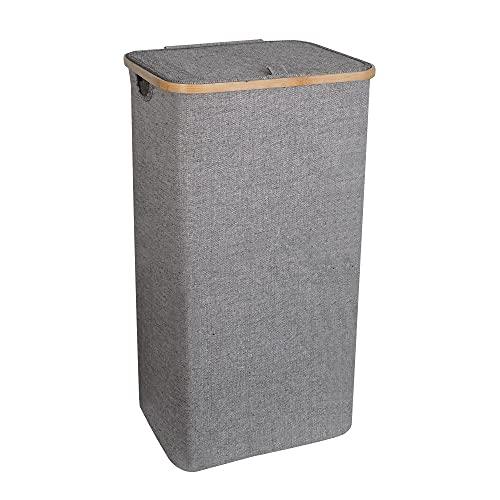 Gadgy Cesto Ropa Sucia Con Tapa | Cesta Ropa Limpia | Cubo Ropa Sucia con Tapa | 100 Litros | Cesto Ropa Plegable | Cesta Bambu | Cesto Ropa Sucia Estrecho