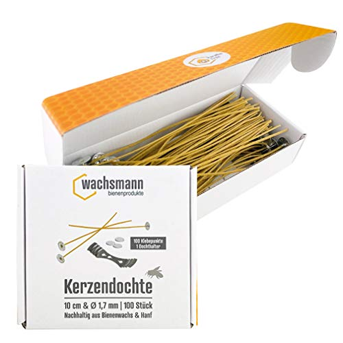 Candle Wicks Paraffin Free | Sustainable Beeswax and Hemp | 100 Wicks Waxed with Base | Set with Adhesive Dots and Wick Holder | Various Lengths and Diameters (Diameter 3 mm | Length 10 cm)