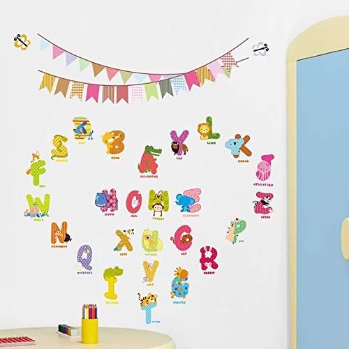 Caracteres de animales Letras Etiqueta de la pared Bandera Guardería Habitación de los niños Decoración de cumpleaños Calcomanías de pared en inglés Alfabeto Logo Pegatinas