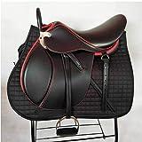 TNNT Conjunto completo de sillín integrado de sillín de caballo de Western Saddle Endurance Sillín de arnés completo de sillín accesorios de equestre Cross Country no deformado, cómodo negro rojo