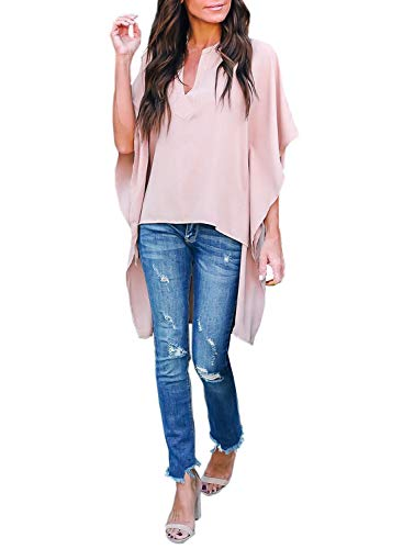 Happy Sailed Women Stylish V Neck Chiffon Tops Casual Solid Blouse Loose High Low Shirts S-2XL (X-Large, Pink)
